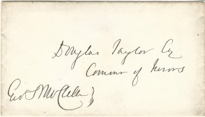 Civil War General George B. McClellan (Union Army) Signature on Cover