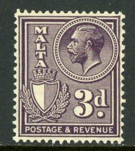 Malta 1930 KGV 3p Dark Violet Scott 173 Mint A142 ⭐⭐⭐