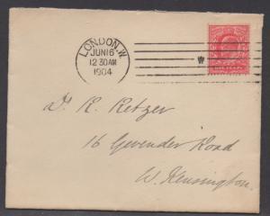 *Great Britain Cover, SC# 128 W/ Letter, Scarce Machine Cancel, 6-16-1904