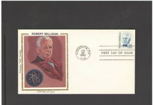 USA: #08 /**ROBERT MILLIKAN-CA CANCEL** / SILK CACHET- FDI- Excellent Condition