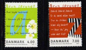Denmark Sc 1196-7 2001 Language stamp set mint NH