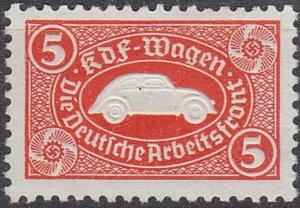 Stamp Germany Revenue WWII 3rd Reich VW Emblem War Era KDF Volkswagen Red MNG