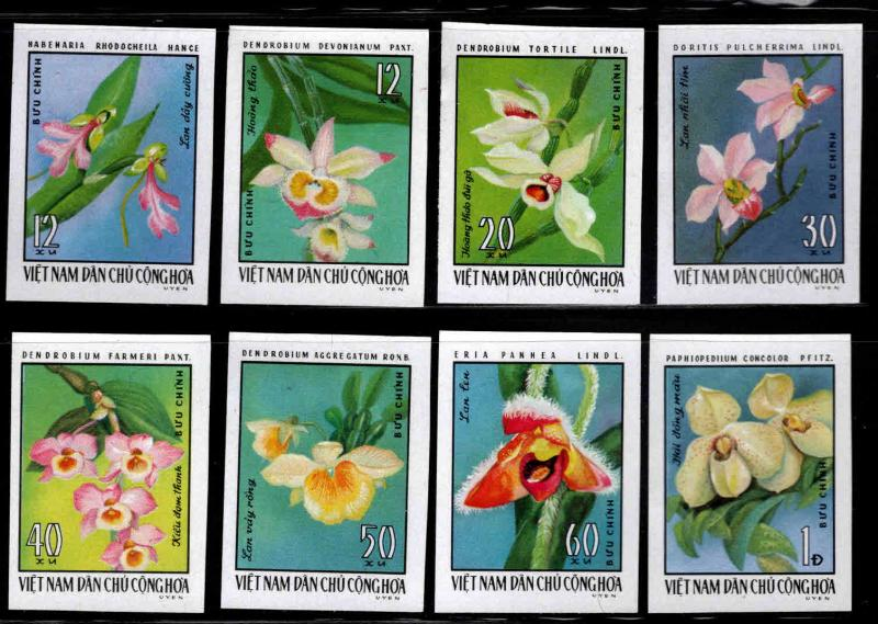 North Viet Nam Scott 822-829 Orchid Flower Imperforate NGAI set