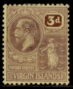 BRITISH VIRGIN ISLANDS GV SG96, 3d purple/pale yellow, M MINT.