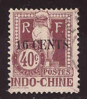 French Indo-China Scott J25 Used 1908 Angkor Wat Postage due