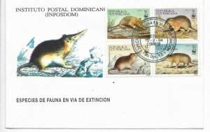 DOMINICAN REPUBLIC 1994 ENDANGERED FAUNA WWF 4 VALUES ON FIRST DAY COVER FDC
