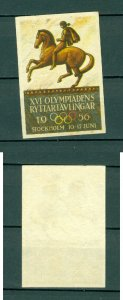 Sweden.  Poster Stamp MNG.1956 Equestrian XVI Olympics. Horse.