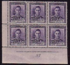 NEW ZEALAND GVI 8d plate block #95 unhinged mint.........................30589