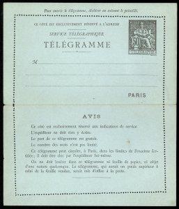 fr042 France Serive Telegraphique - Telegramme 50c letter sheet unused