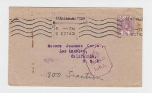 CEYLON -USA 1942 CENSOR (L/6A) COVER 5c RATED H/S TYPE 4A1 (SEE BELOW)
