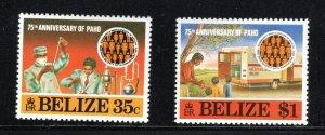 Belize SC393-394 PanAmericanHealthOrg.75Anniv.w/SS MNH 1977