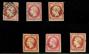 momen: France Stamps #19 Used 6 Examples Diff. Shades