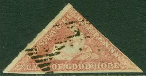 EDW1949SELL : CAPE OF GOOD HOPE 1858 Stanley Gibbons #5a Rose VF, Used. Cat £350
