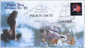 2015, Pirate Days, Alexandria Bay NY, Pictorial Cancel, BW, Mermaid, 15-191