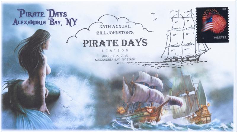 2015, Pirate Days, Alexandria Bay NY, Pictorial Cancel, BW, Mermaid, 15-191