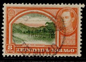 TRINIDAD & TOBAGO GVI SG251, 8c sage-green & vermilion, FINE USED.