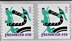 US 3228 MNH VF/XF 10 Cent Green Bicycle (Small 1998) Pair
