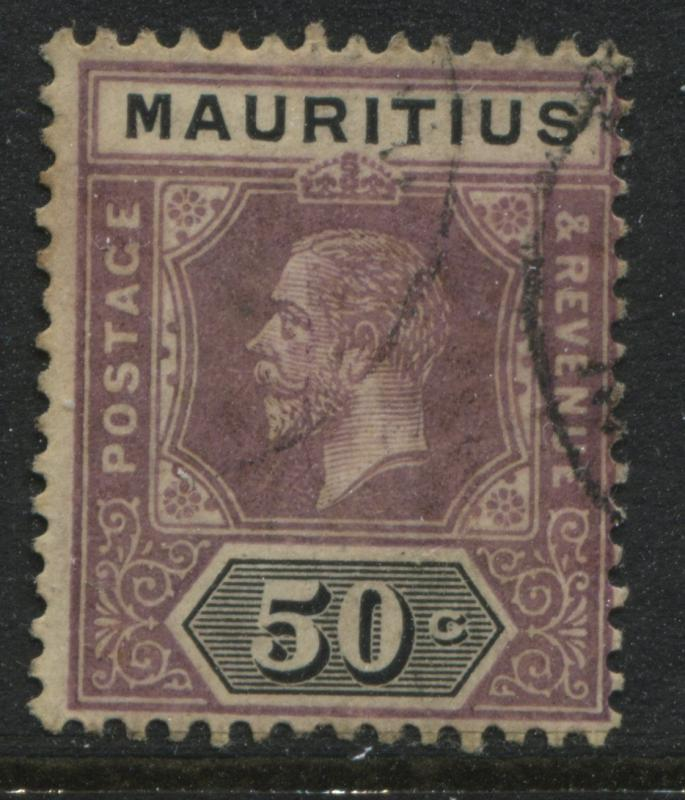 Mauritius 1912 50 cents dull violet & black CDS used