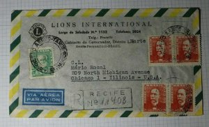 Brazil Registered Airmail Cover to USA Lions Itnl 1956 Recife Used Pair Sc# 788