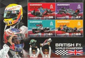 FORMULA 1 = British F1 CHAMPIONS = SS of 4 stamps GUERNSEY [GB] 2011 MNH