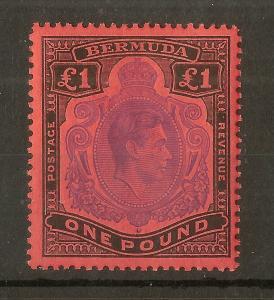 Bermuda 1951 GVI £1 Keyplate SG121d Perf 13 Mint Cat£55