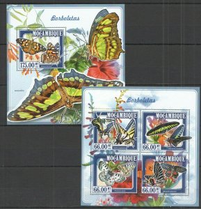 ST2361 2015 MOZAMBIQUE BUTTERFLIES FAUNA INSECTS KB+BL MNH