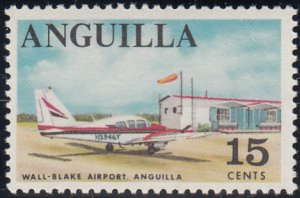 Anguilla 1967-68 MNH Sc #24 15c Wall-Blake Airport, airplane