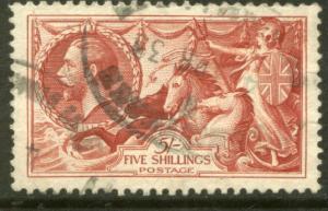G.B. 180, 5sh Seahorse. Used. F-VF. (48)