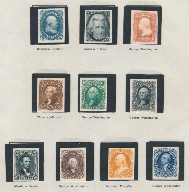 #63P4-72P4; 77P4 PLATE PROOF ON CARD MOUNTED ON PAGE VF HV1655