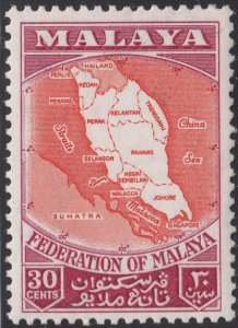 Federation of Malaya 1957 MH Sc #83 30c Map of Federation showing states