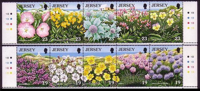 Jersey Wild Flowers 2 strips of 10v SG#707-716