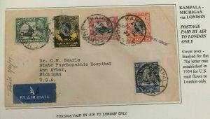 1937 Kampala Uganda Airmail Cover To Ann Arbor Mi USA Via London England