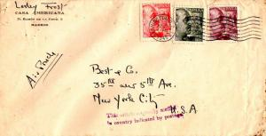 Spain 25c, 40c, and 4P Franco 1945 Washington, D.C. Airmail to New York, N.Y....