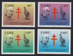 Zaire Centenary of Discovery of Tubercle Bacillus 4v SG#1153-1156 SC#1111-1114