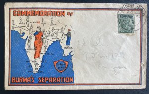 1937 Rangoon Burma Airmail First Day Cover Separation Day
