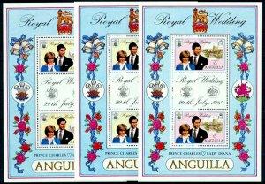 ANGUILLA - 1981 - ROYAL WEDDING - DIANA & CHARLES ++ 3 X MINT - MNH S/SHEETS!