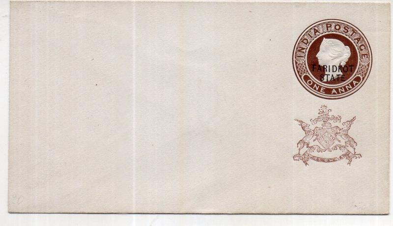 India - FARIDKOT STATE 1/2 AS  OVERPRINT  envelope mint   WITH BROWN MONO