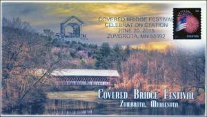 2015, Covered Bridge Festival, Zumbota MN, Pictorial Postmark, 15-237