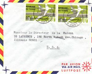 Chad 30F Air Afrique (2) 1967 Fort Lamy R.P. Tchad Airmail to Chicago, Ill.  ...