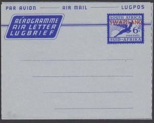 SWAZILAND 6d South Africa airletter overprinted for use in Swaziland.......67601