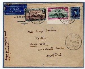 EGYPT Cover Air Mail Alexandria IMPERIAL AIRWAYS & QANTAS Australia 1934 EP404