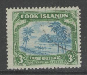 COOK ISLANDS SG129 1938 3/= GREENISH-BLUE & GREEN FINE USED