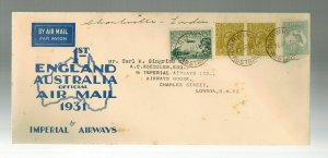 1931 Darwin Australia England Roessler FFC First Flight Cover Imperial Airways