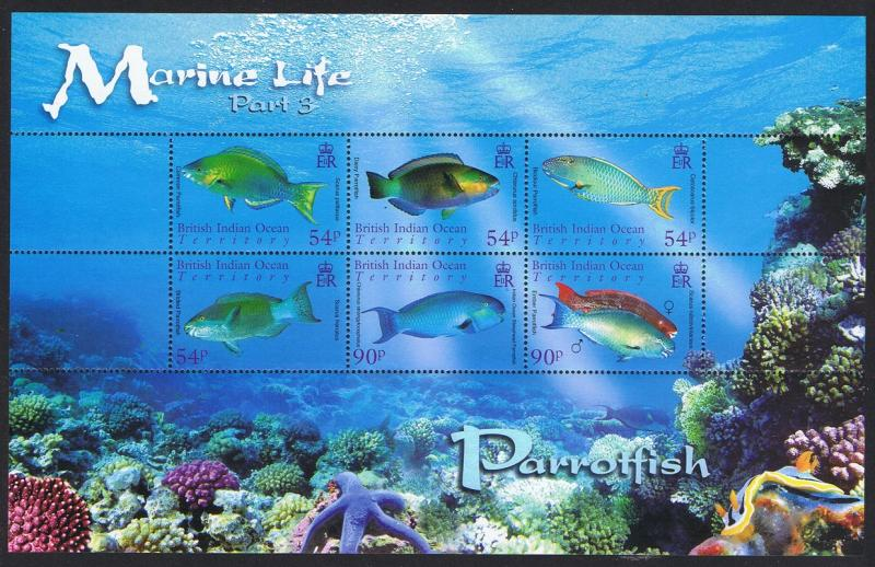 BIOT Parrotfish Marine Life 3rd series MS SG#MS356