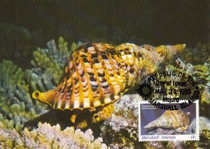 Marshall Islands 1986 Maxicard Sc #110 14c Triton's trumpet snail WWF