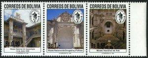 Bolivia 821-823a strip/3, MNH. National Museums. Ethnology, Art, 1991