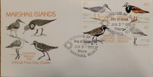J) 1989 REPUBLIC OF THE MARSHALL ISLAND, WANDERING MIGRANTS, BIRDS, SET OF 4, FD