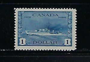 CANADA SCOTT #262 1942-43 GEORGE VI $1 DESTROYER - MINT NEVER HINGED