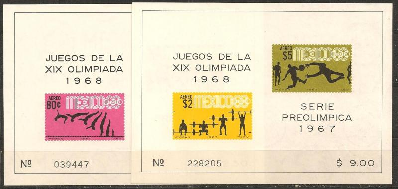 Mexico #C329, C331 Mint Never Hinged VF CV $13.00 (A9614L)