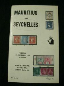 ROBSON LOWE AUCTION CATALOGUE 1976 MAURITIUS AND SEYCHELLES
